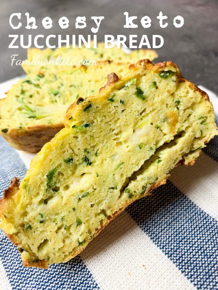 Picture of cheesy keto zucchini bread cut into slices