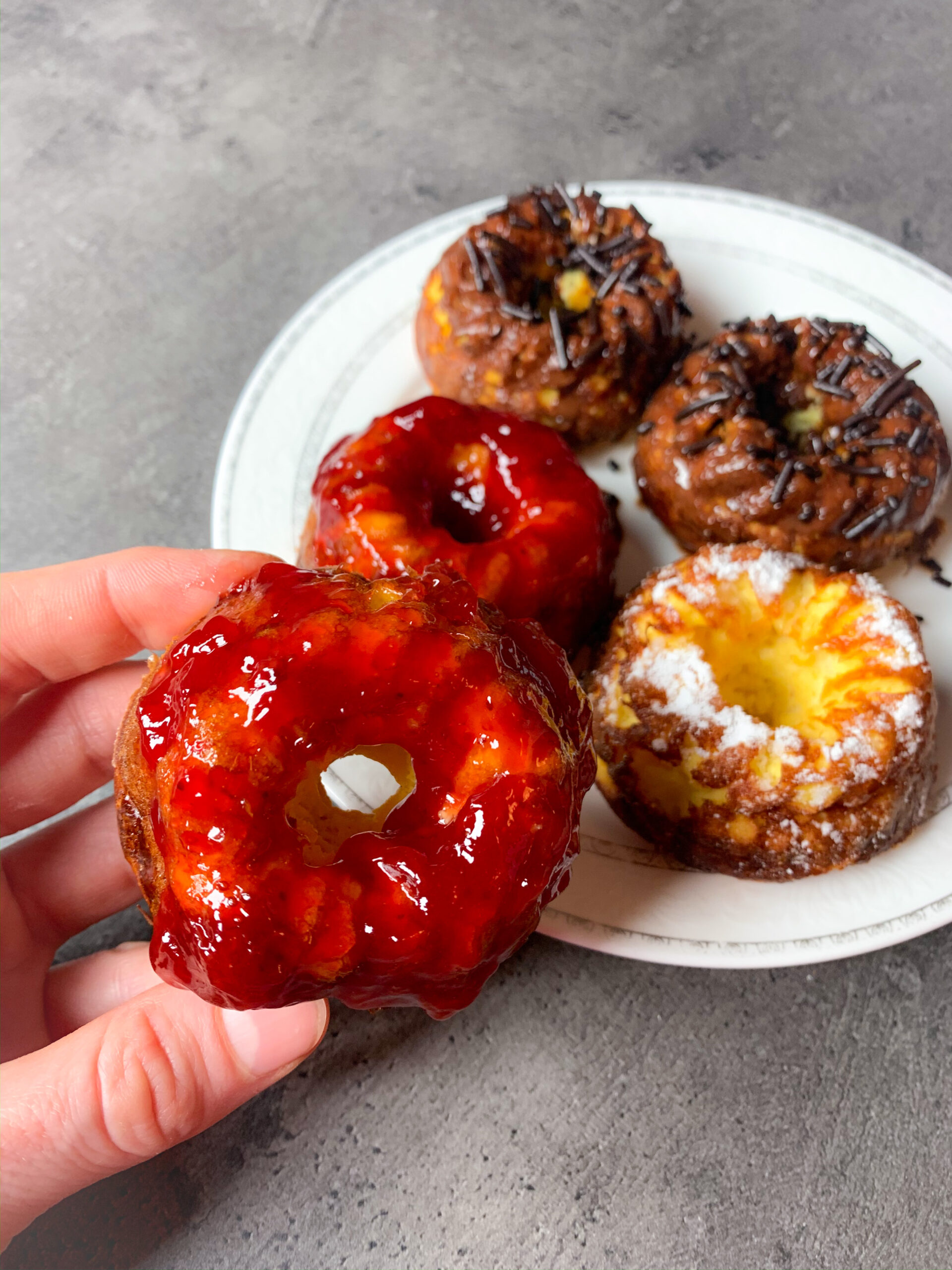 Picture of healthy breakfast low carb donuts baked in mini bundt cakes pan