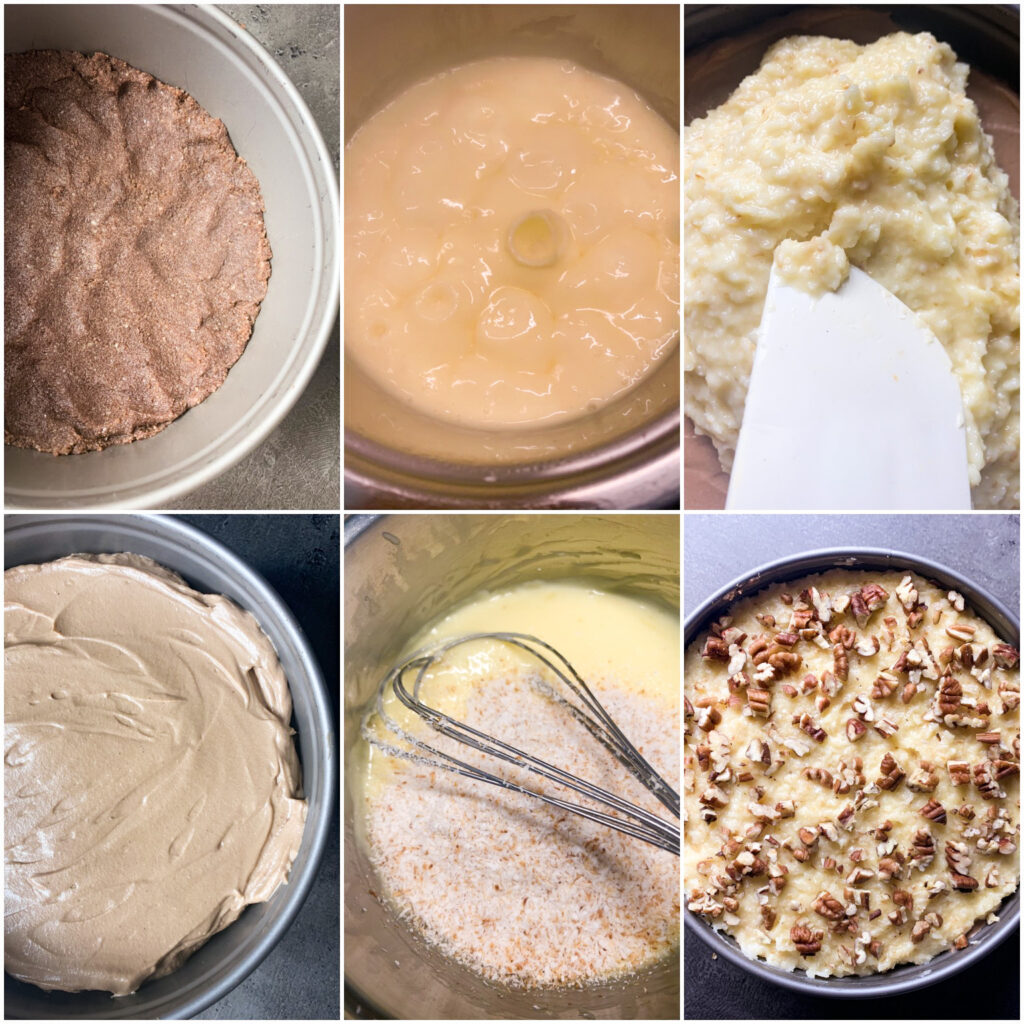 Picture of a procedure to make keto German chocolate cheesecake cake