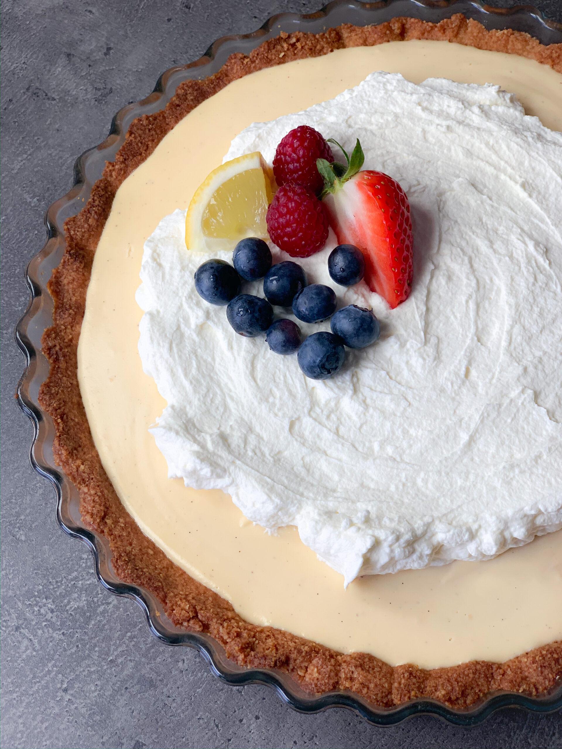 Picture of keto lemon cream tart with crispy keto pie crust