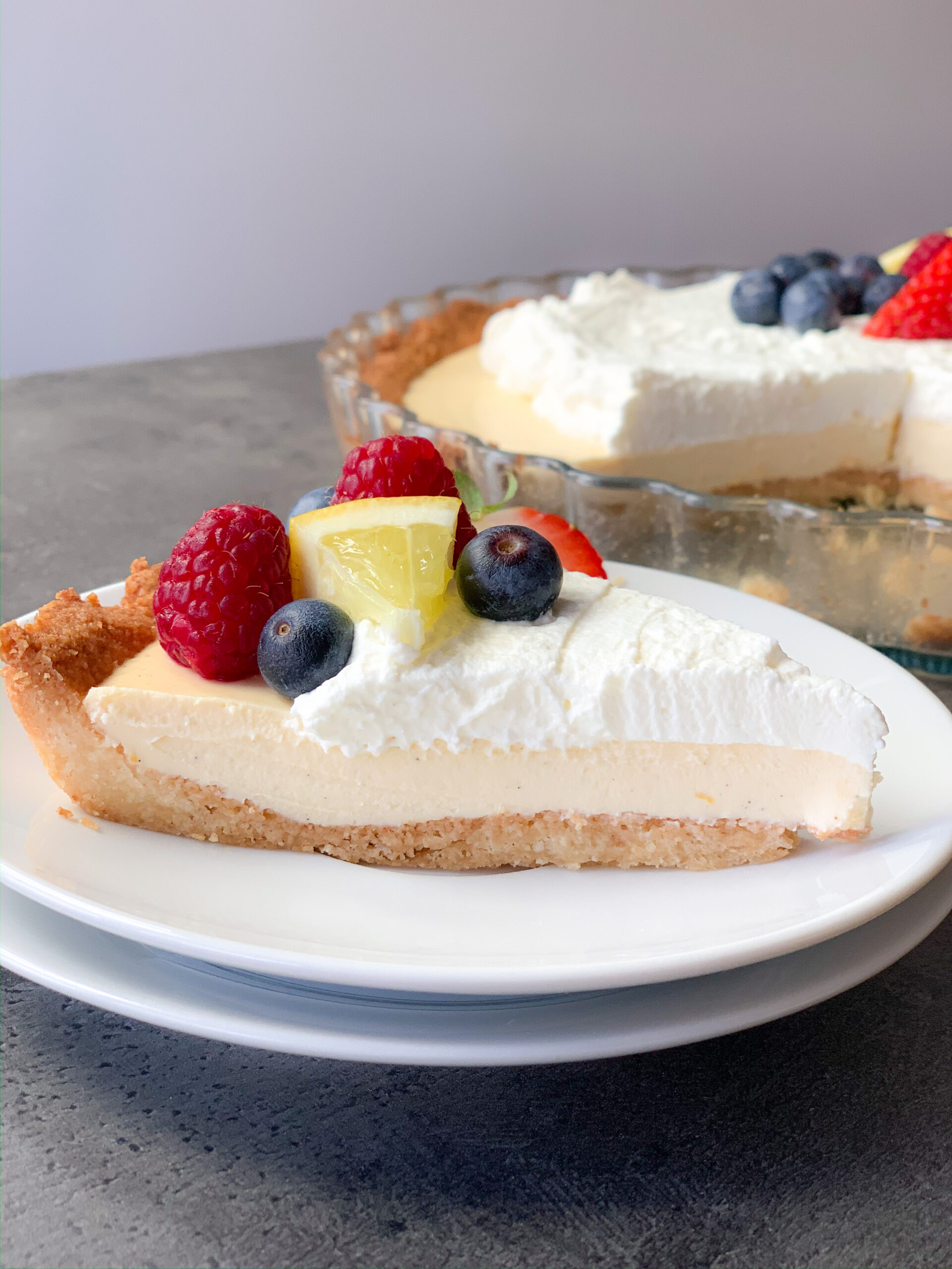 Picture of easy keto lemon cream pie with lemon and mascarpone cheese cream
