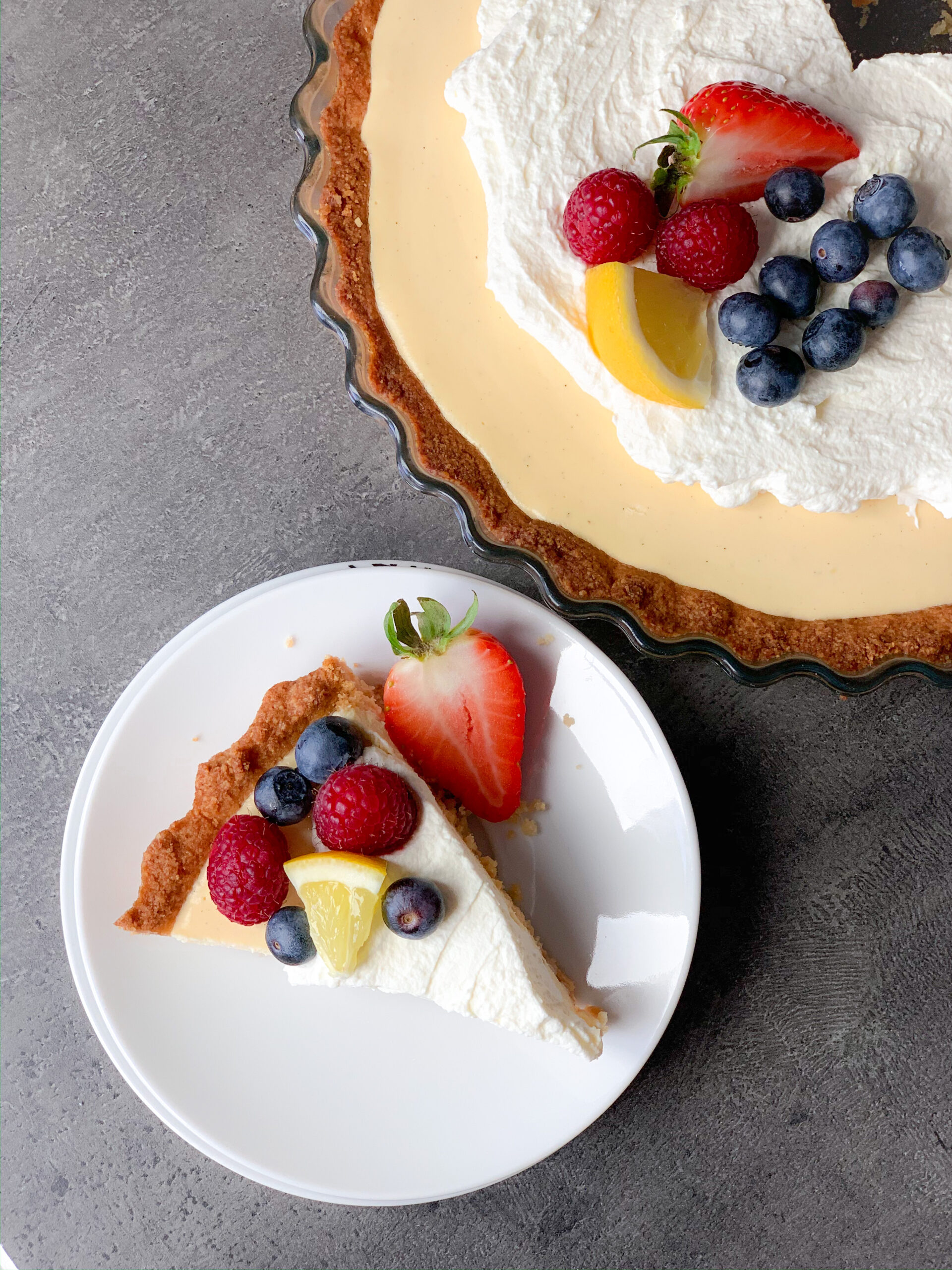 Picture of delicious keto lemon cream pie with heavy cream topping and berries