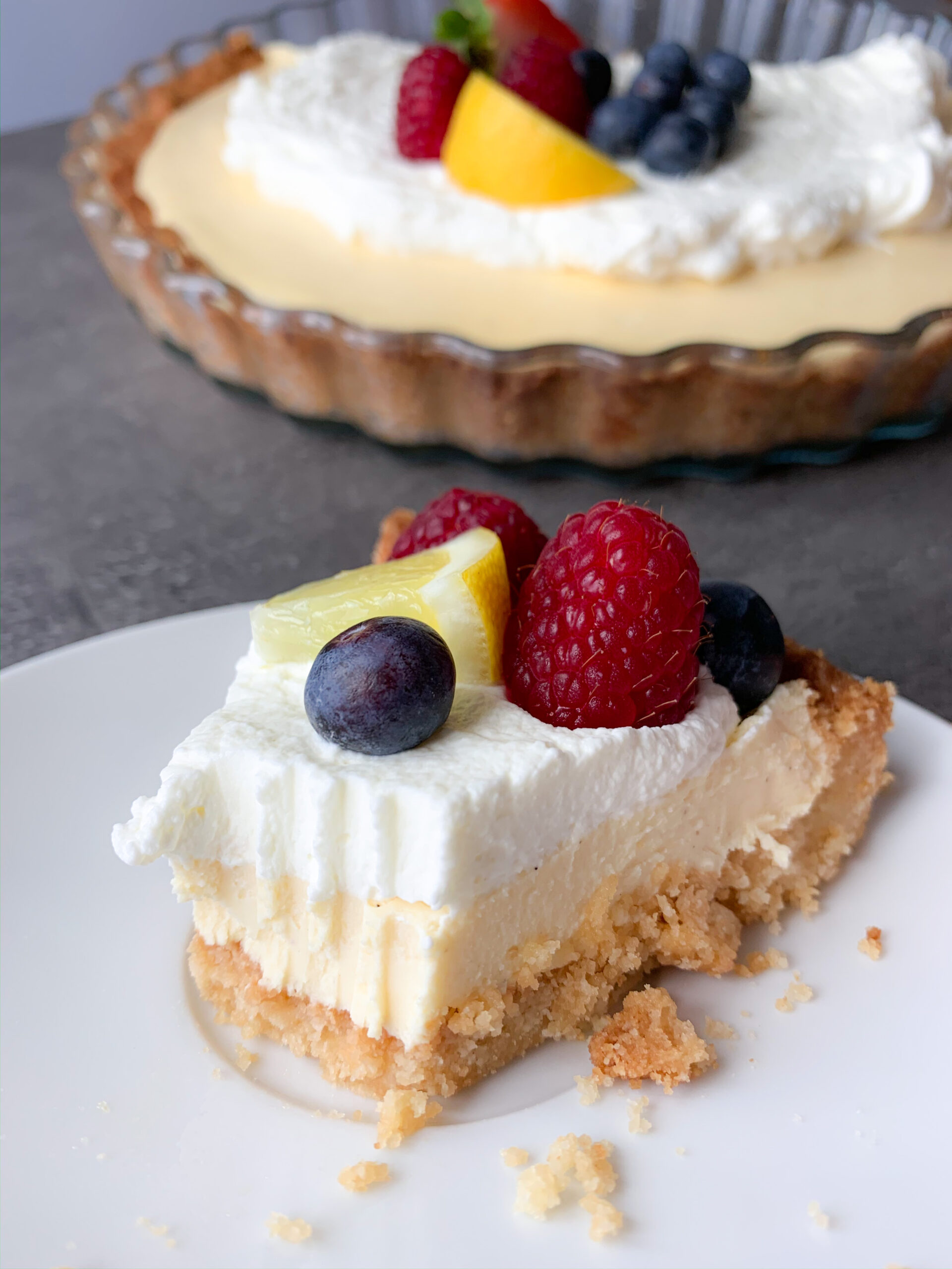 Picture of a slice of low carb lemon pie