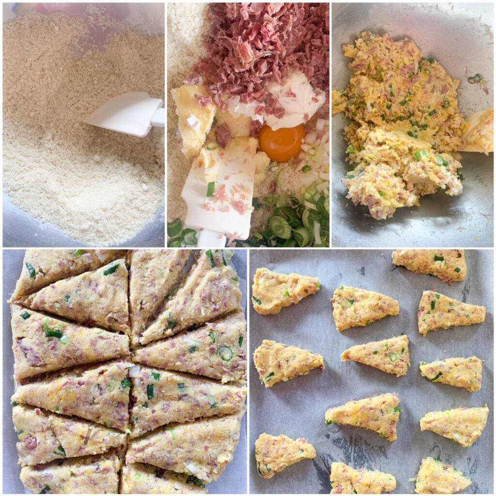 Picture of a procedure to make keto scones with ham, spring onion and cream cheese
