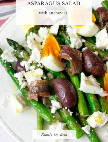 Picture of keto Mediterranean asparagus salad with anchovies, eggs and olives