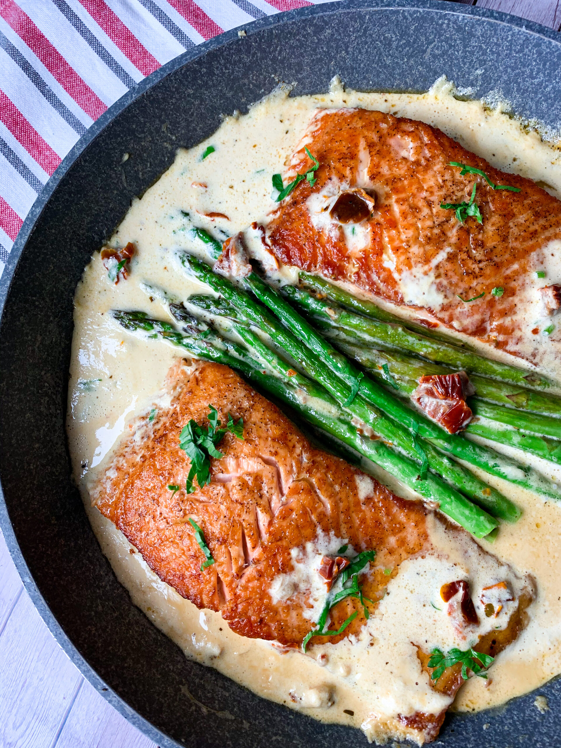Picture of keto salmon recipe with asparagus in creamy Italian sauce with dried tomato and garlic