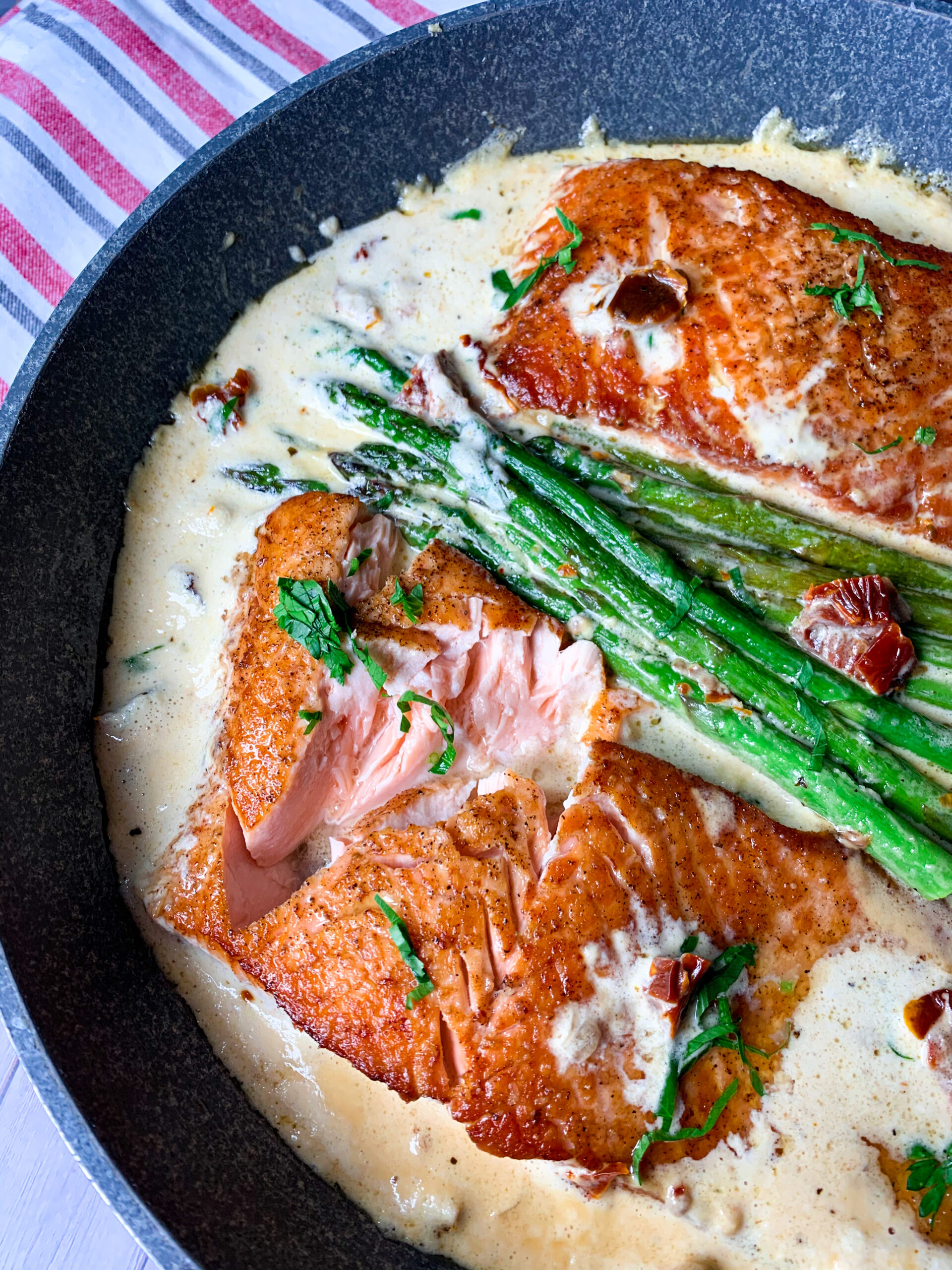 Picture of keto salmon with asparagus and creamy keto Tuscan sauce with garlic, dried tomato and butter