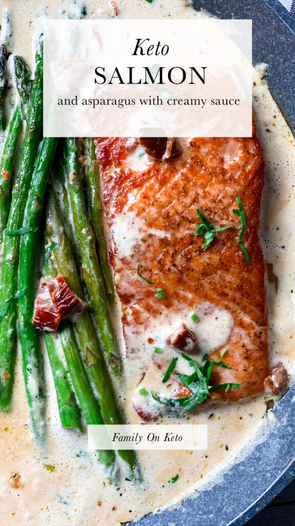 Picture of keto salmon recipe with creamy garlic butter Tuscan sauce