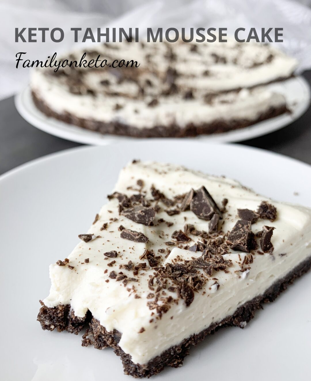 Keto tahini mousse cake with chocolate