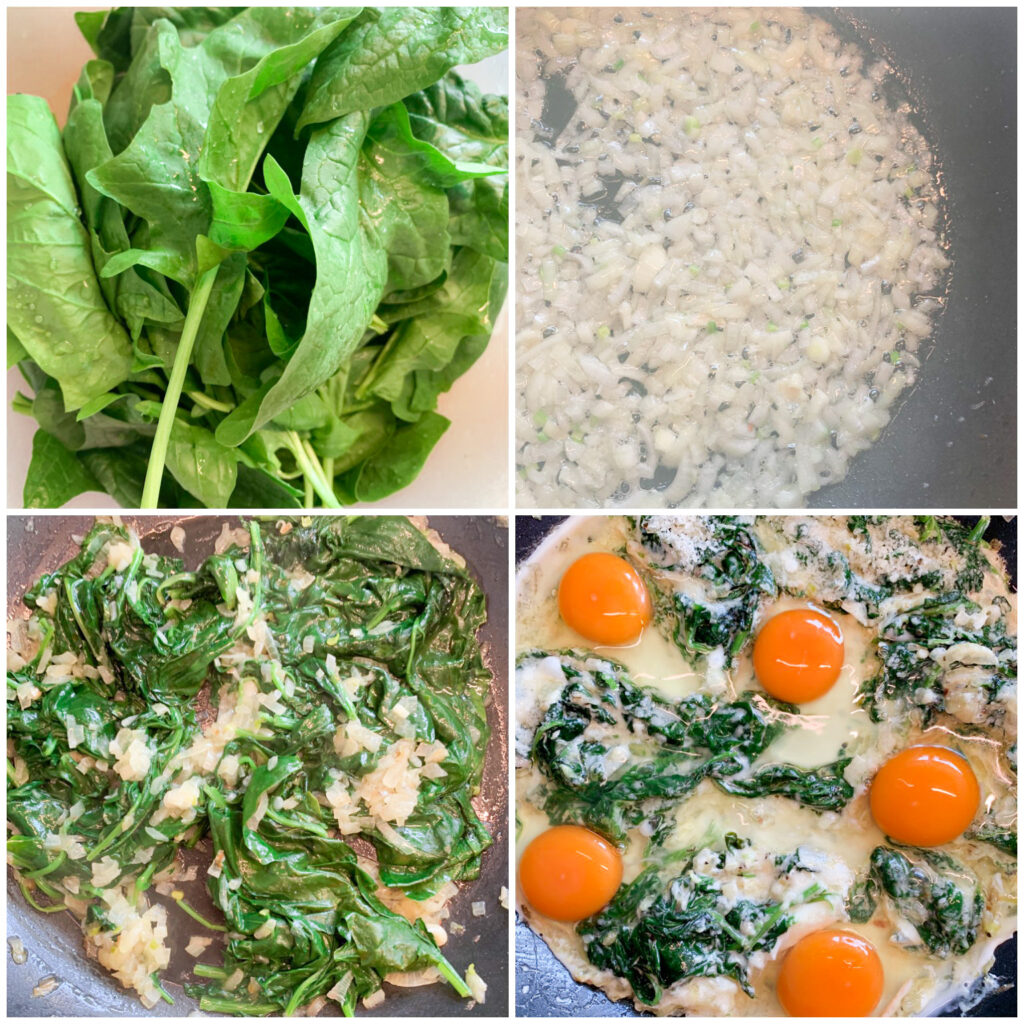 Picture of a procedure to make keto recipe for spinach and eggs in the skillet