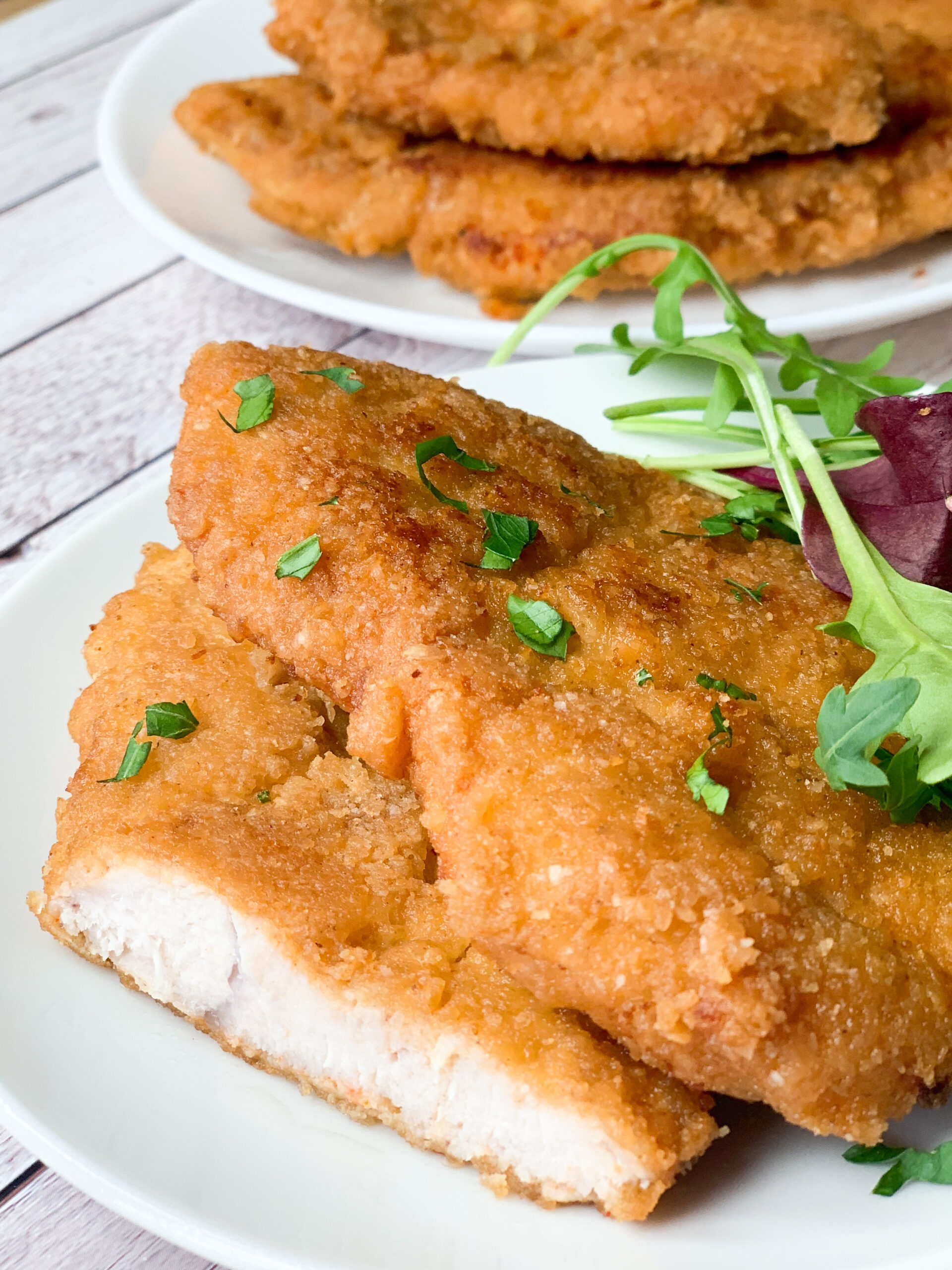 Photo of keto schnitzel with keto breading crispy