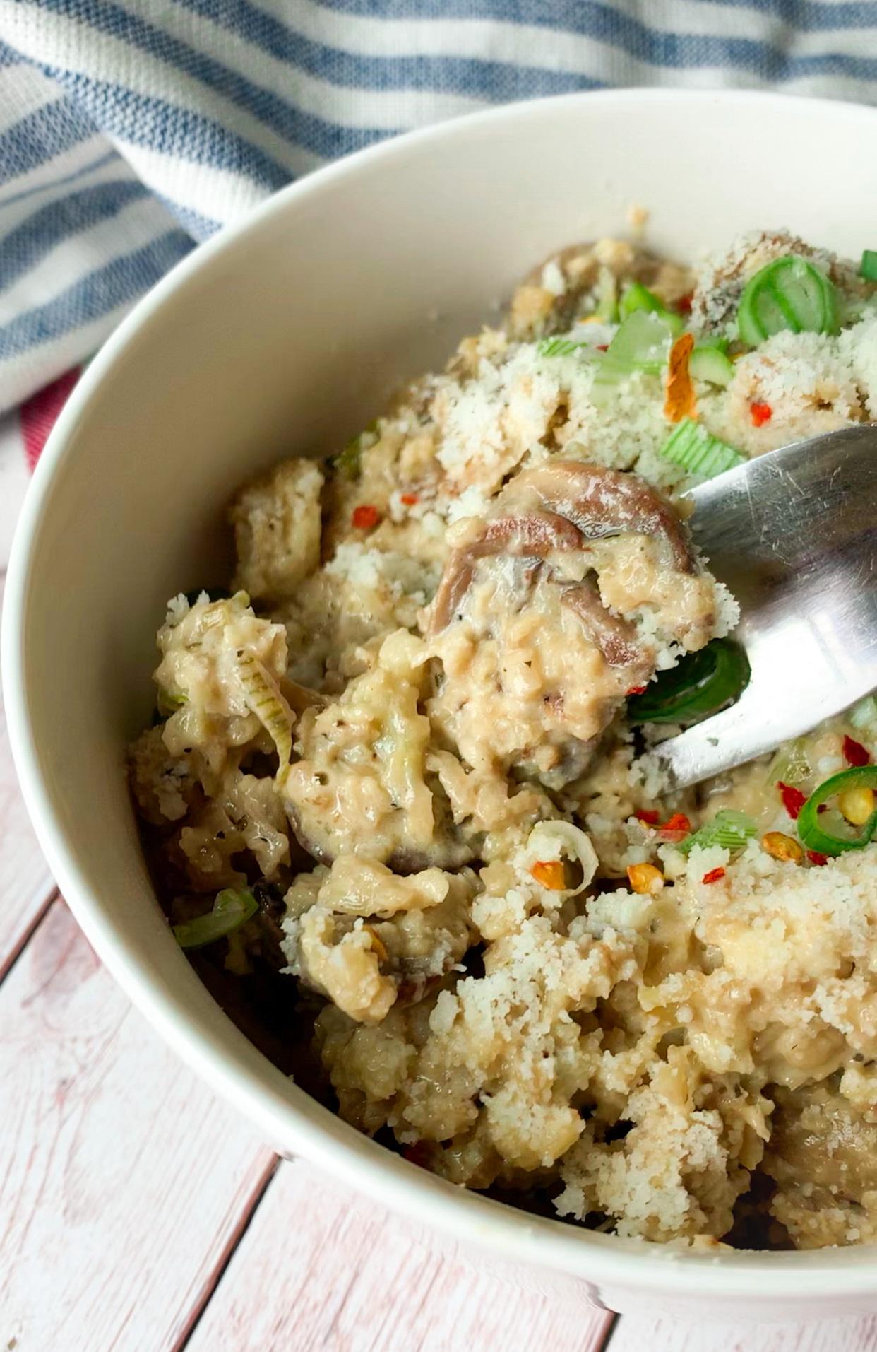 Picture of creamy keto cauliflower mushroom risotto
