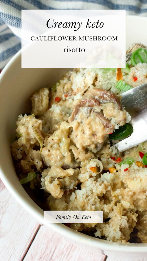 Photo of creamy keto cauliflower risotto with mushrooms and cheese