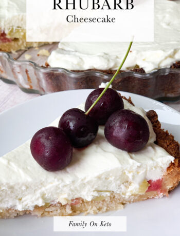 Picture of keto rhubarb cheesecake with cherries on top