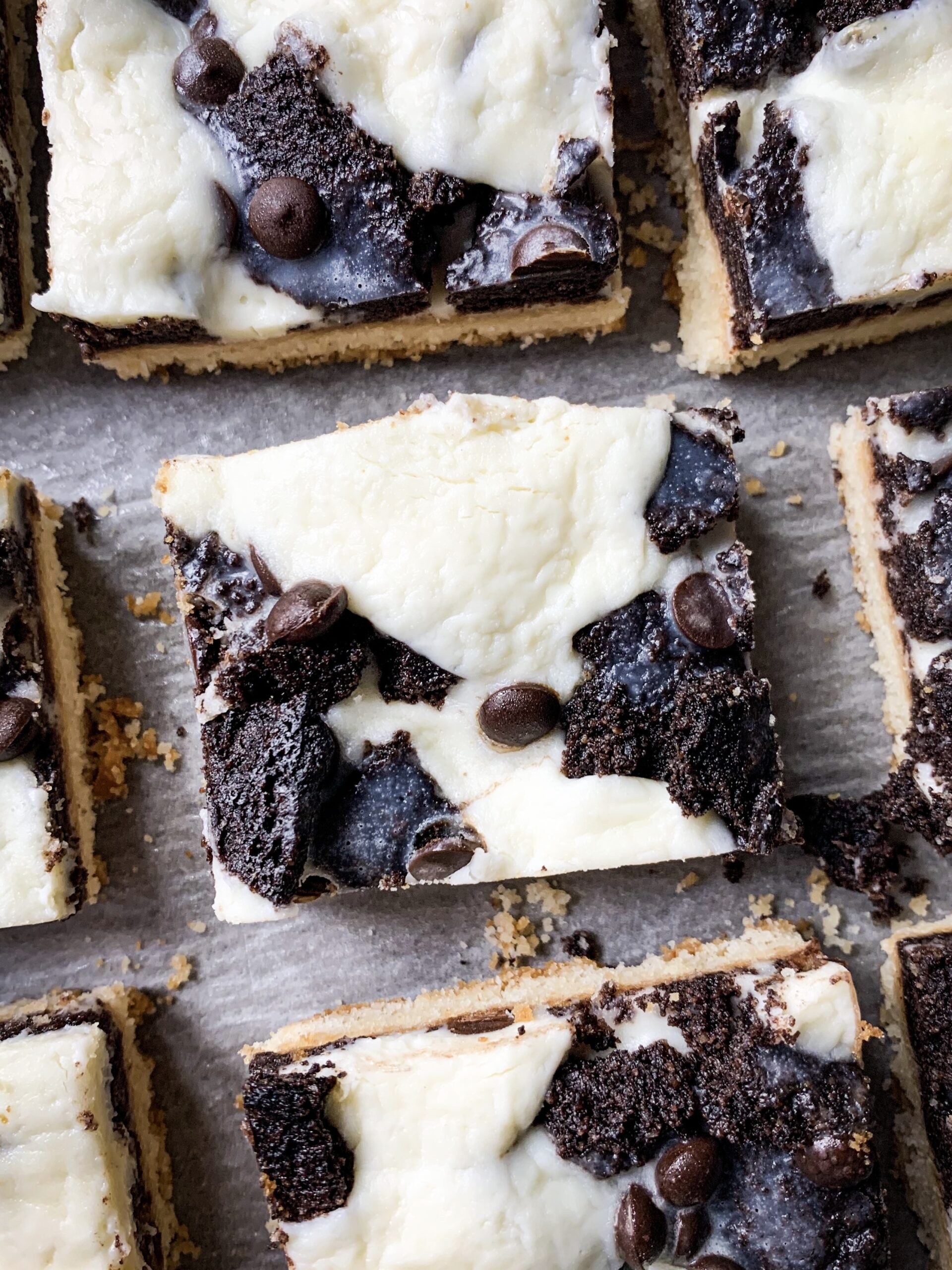 Picture of low carb magic cookie bars with chocolate chips and cheesecake filling