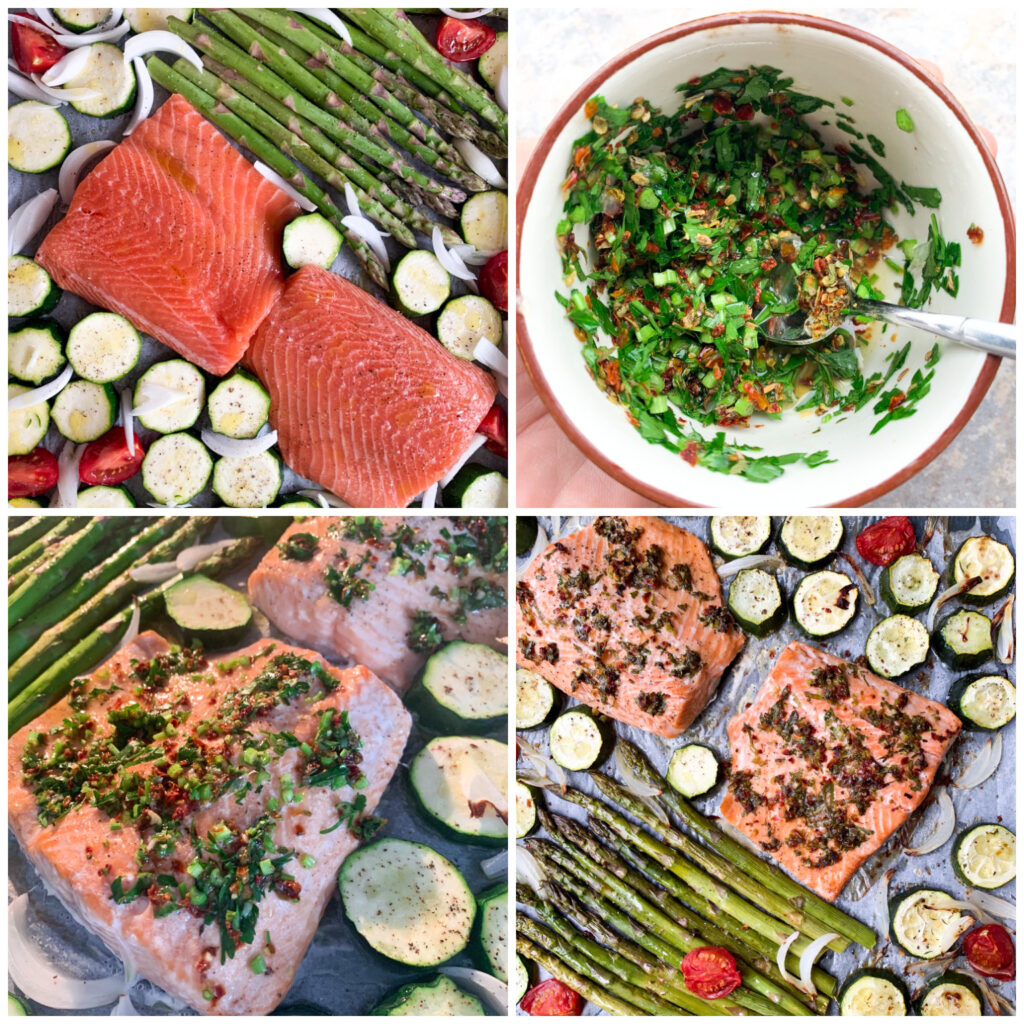 Procedure to make sheet pan salmon and veggies