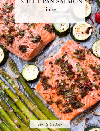 Picture of keto sheet pan salmon dinner with asparagus and zucchini