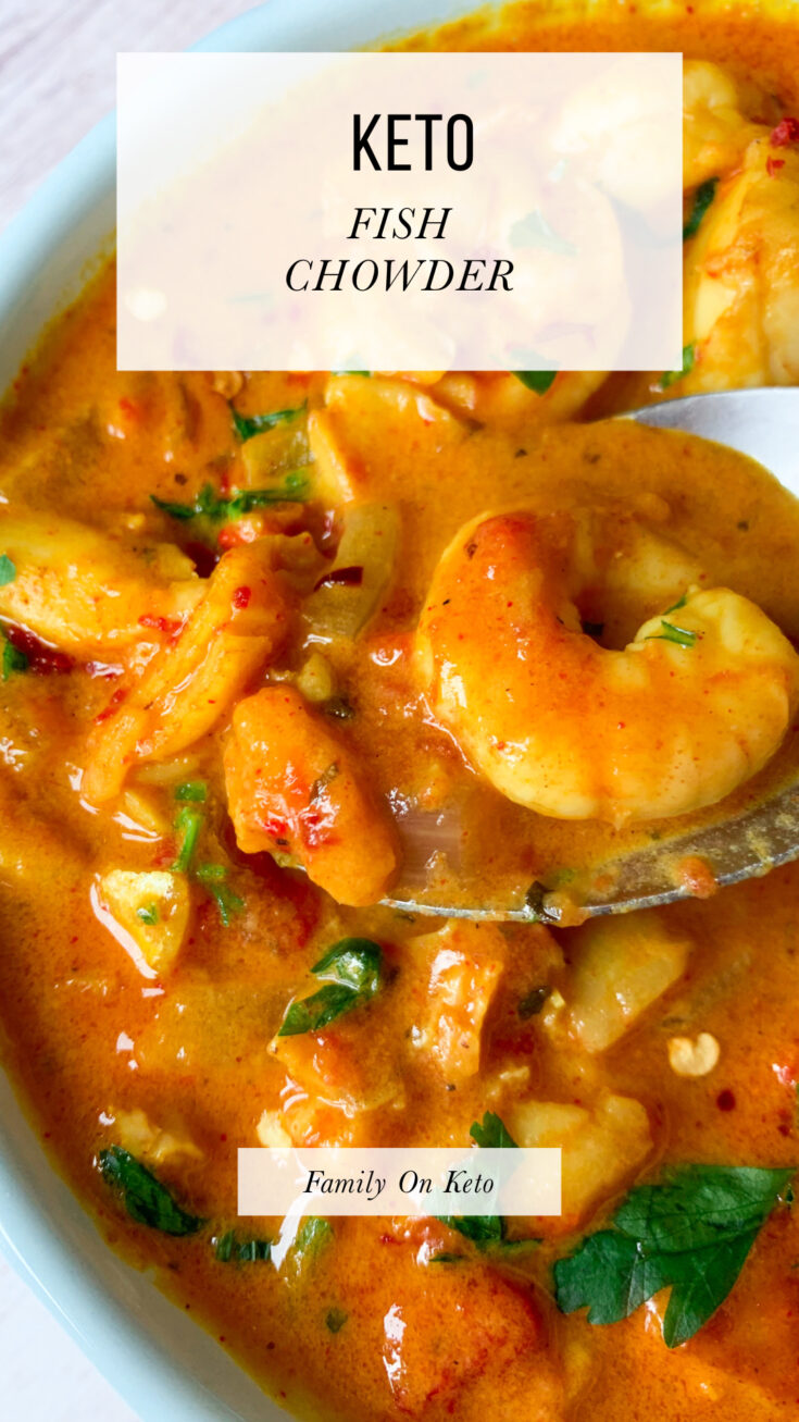 Picture of keto fish chowder recipe with shrimp
