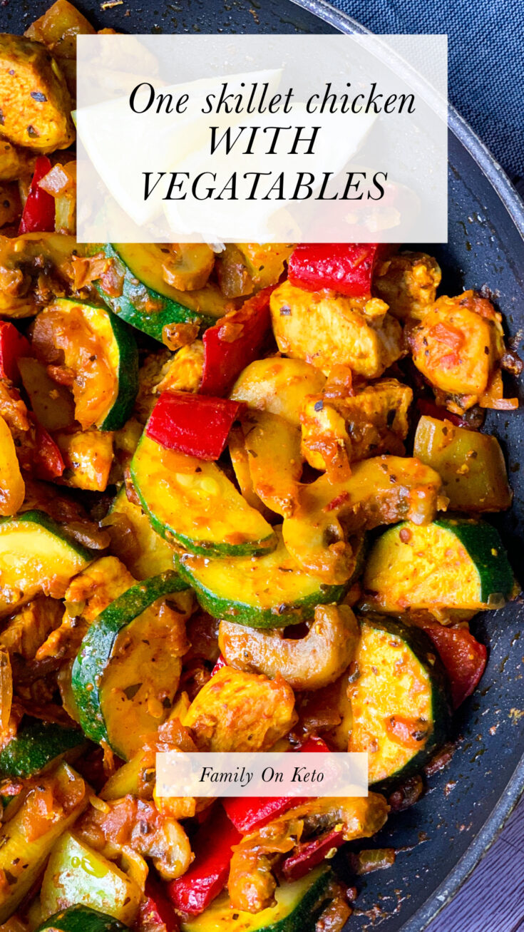 Picture of one skillet chicken with vegetables in Mediterranean way