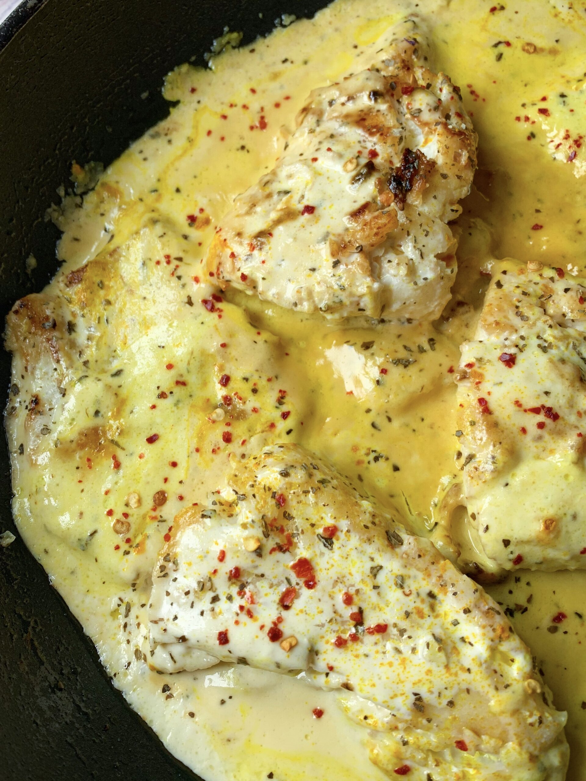 Picture of one skillet fish recipe with coconut and lime sauce