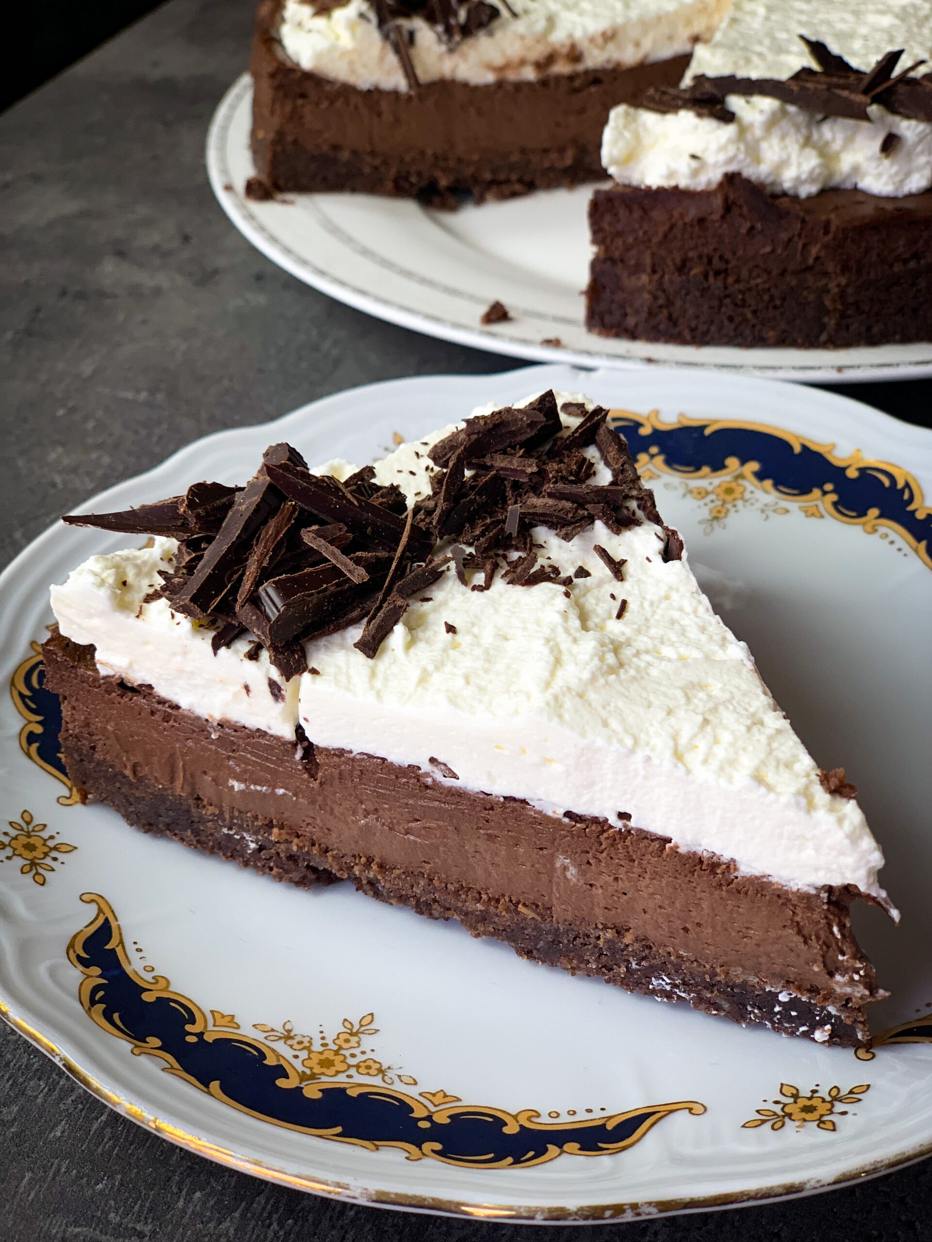 Picture of a keto chocolate cake with cream topping