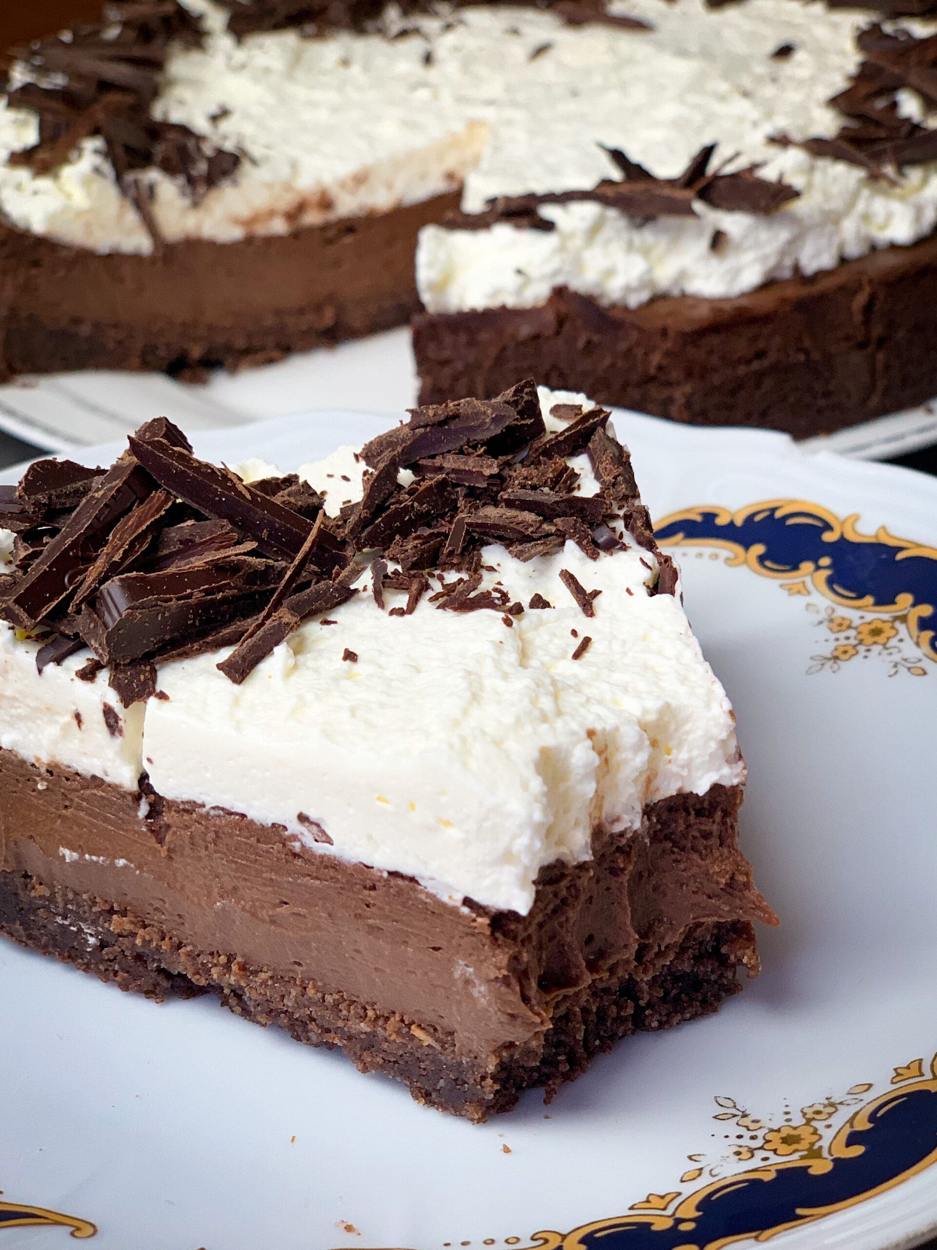 Picture of a low carb chocolate cheesecake