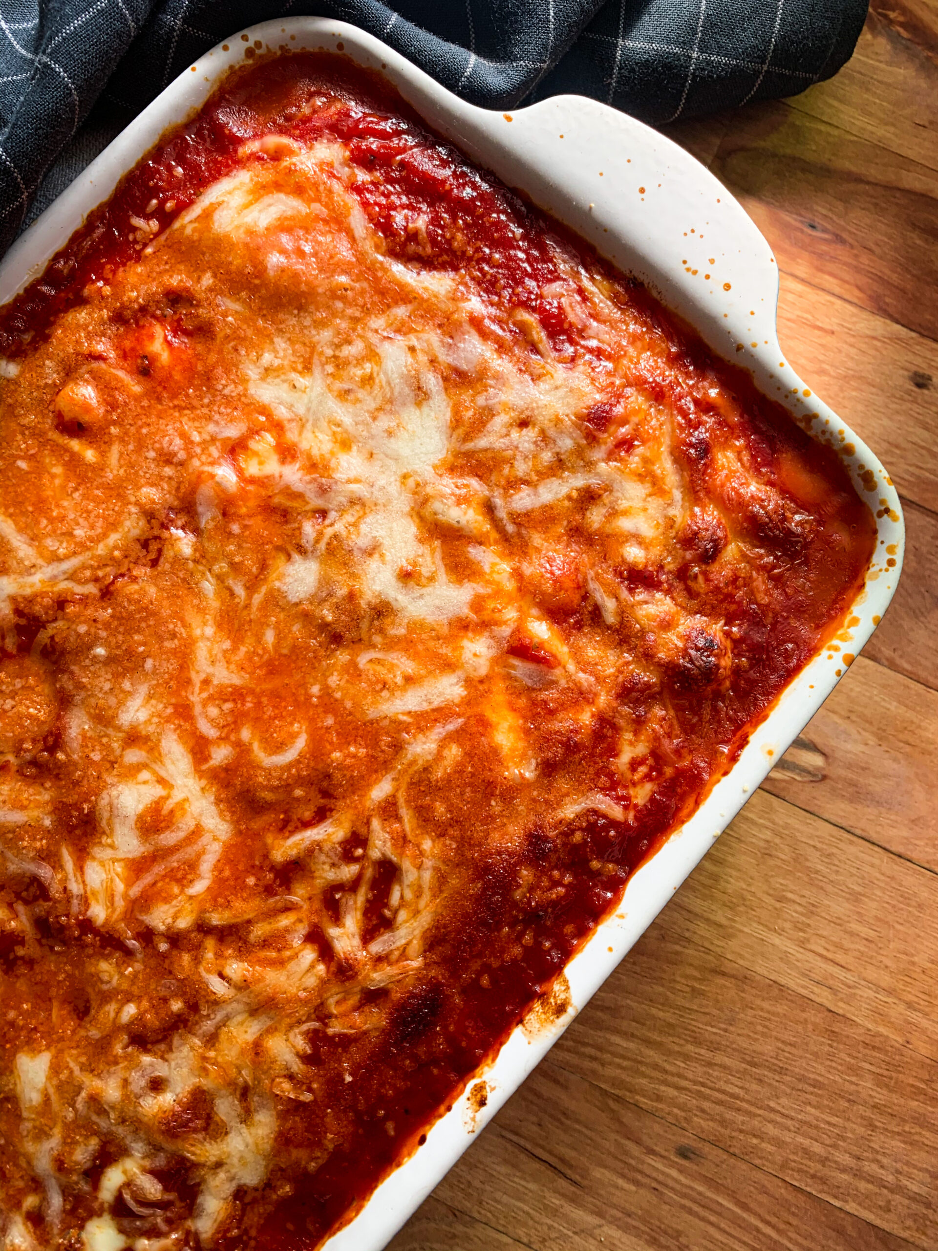 Picture of low carb vegetarian lasagna with spinach and cottage cheese