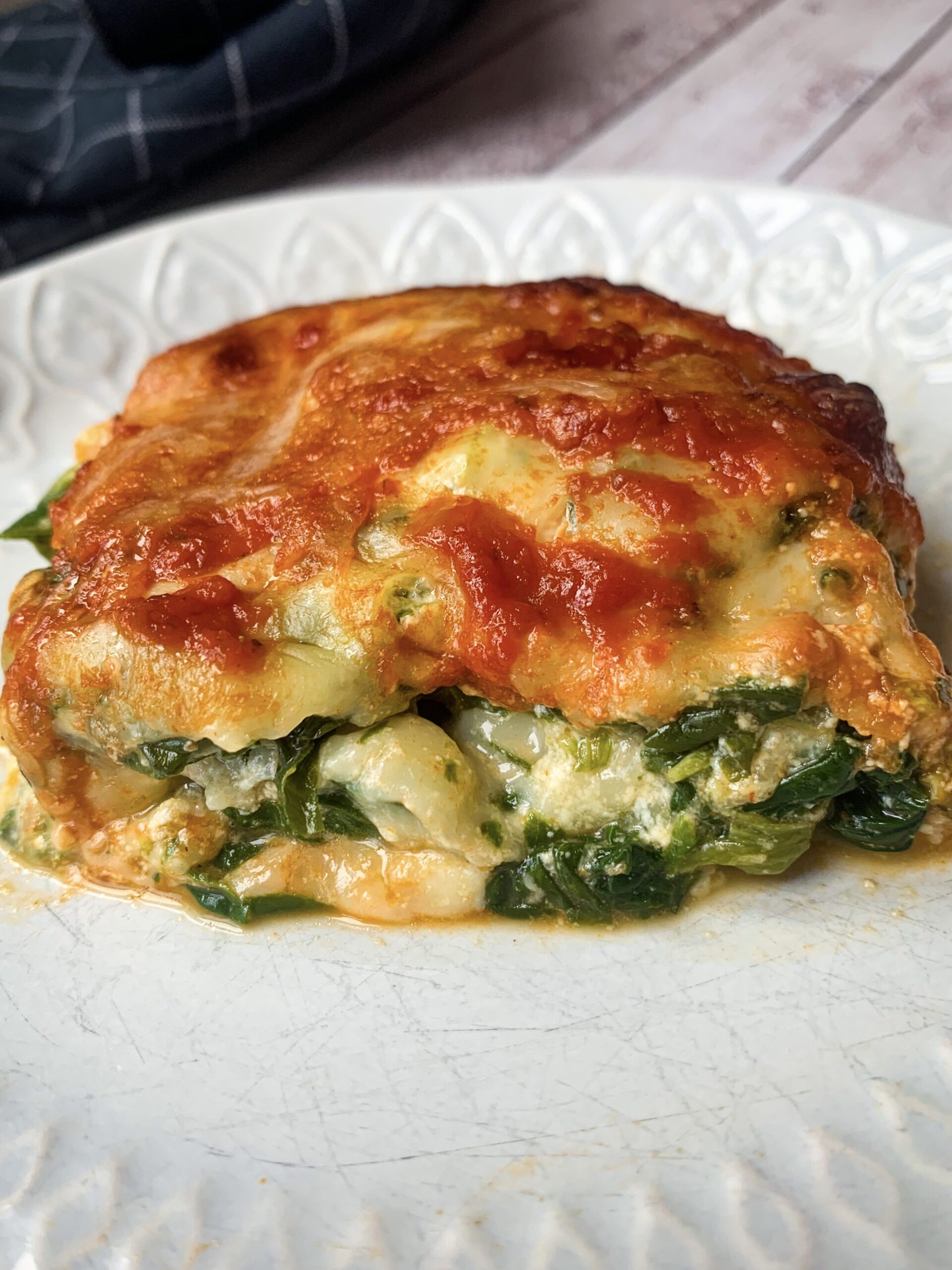 Picture of vegetarian keto lasagna with spinach