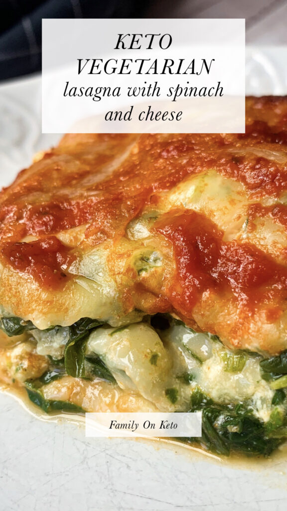 Picture of keto vegetarian lasagna with spinach and cheese