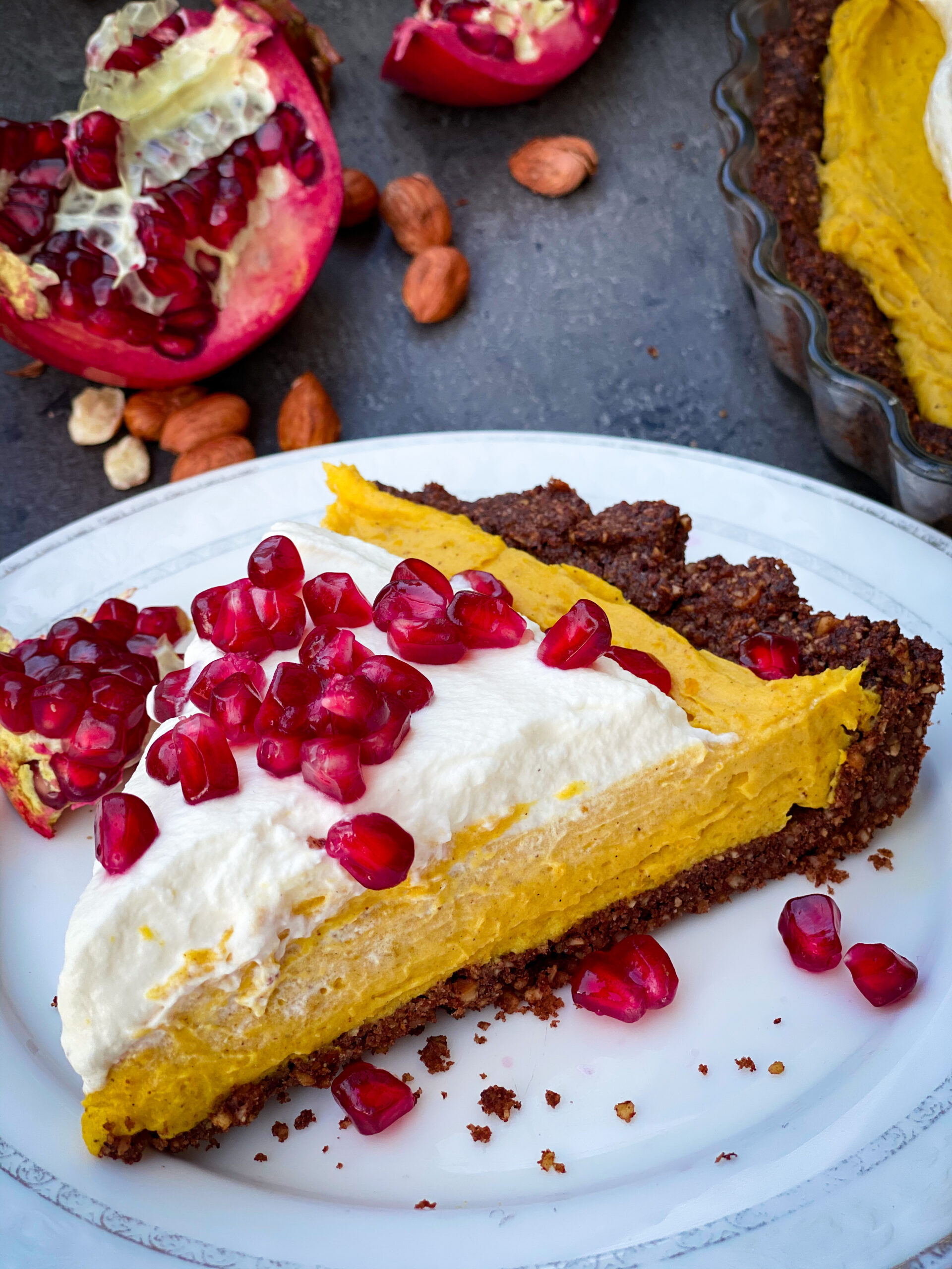 Picture of keto pumpkin pie cheesecake with hazelnut crust