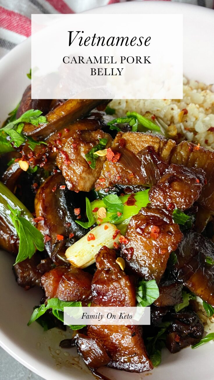Picture of a bowl of keto Vietnamese caramel pork belly with cauliflower rice