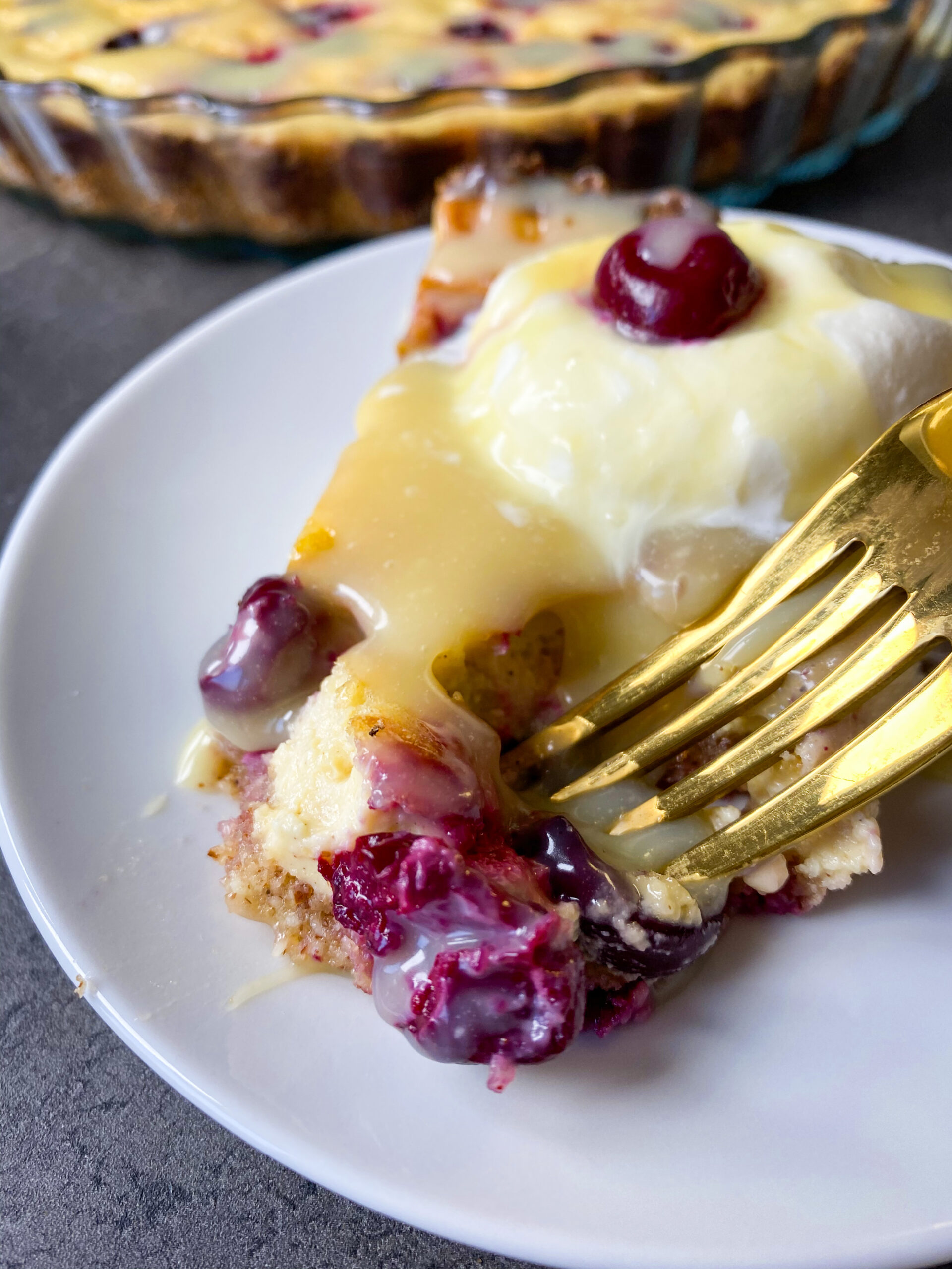 Picture of a low carb cherry cream pie