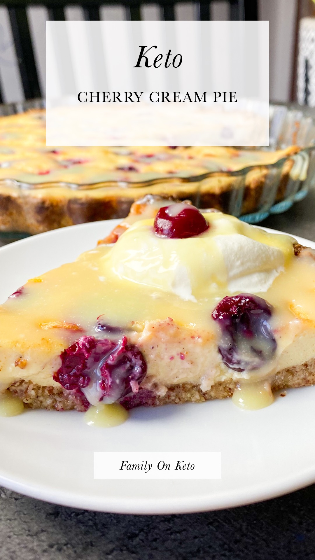 Photo of a slice of keto cherry cream pie with sugar-free white chocolate on top