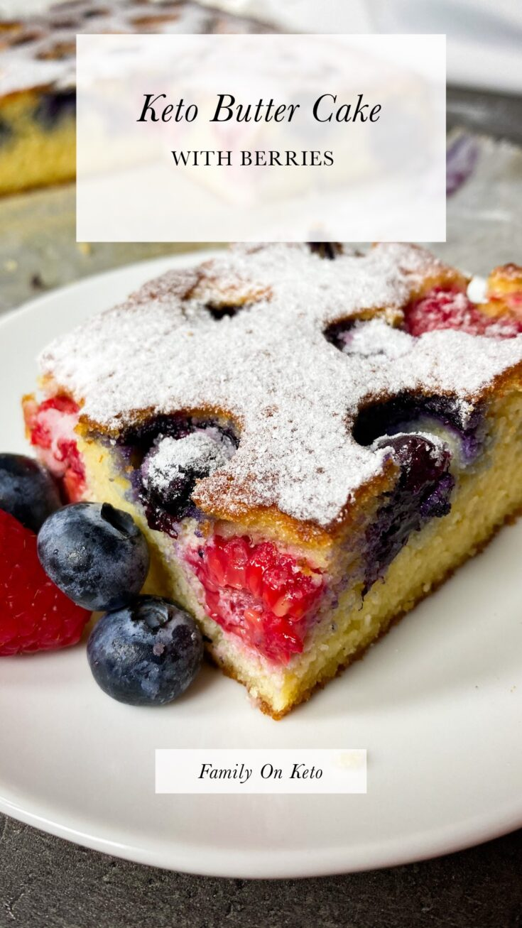 Picture of a slice of keto butter cake with berries on a plate