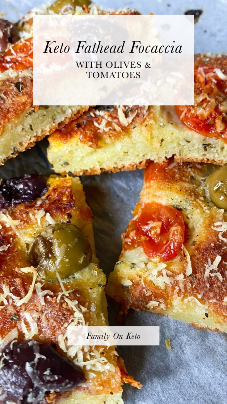 Picture of keto fathead focaccia with olives and tomatoes