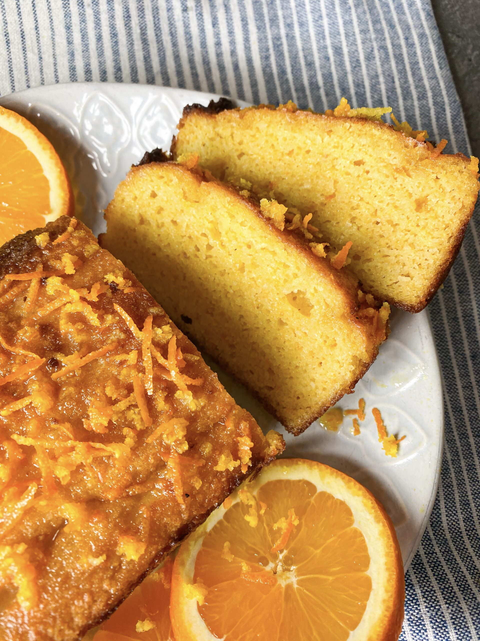 Picture of keto orange cake cut in slices