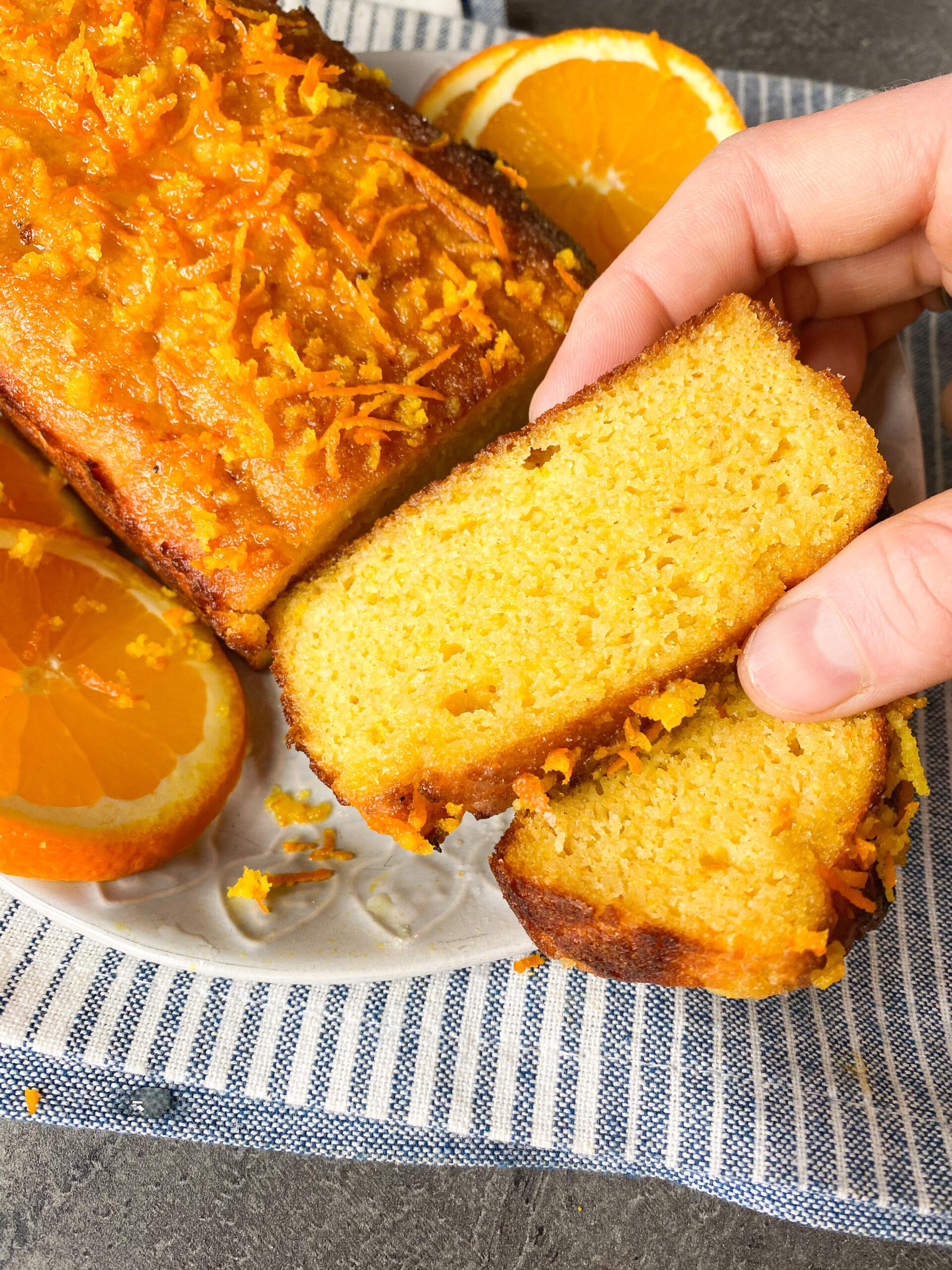 Picture of a slice of keto orange pound cake