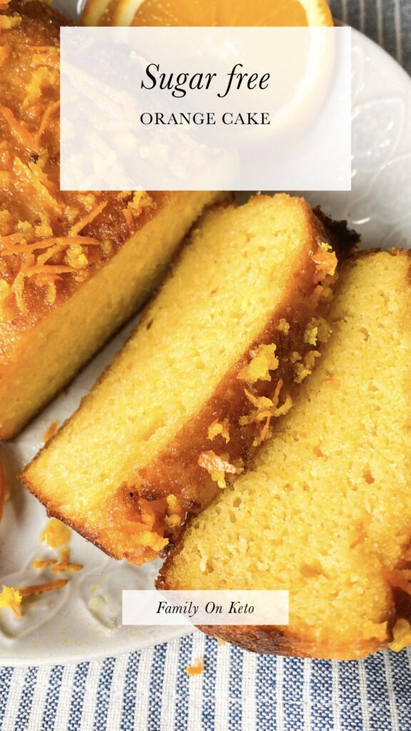 Picture of sugar free orange cake recipe cut in slices