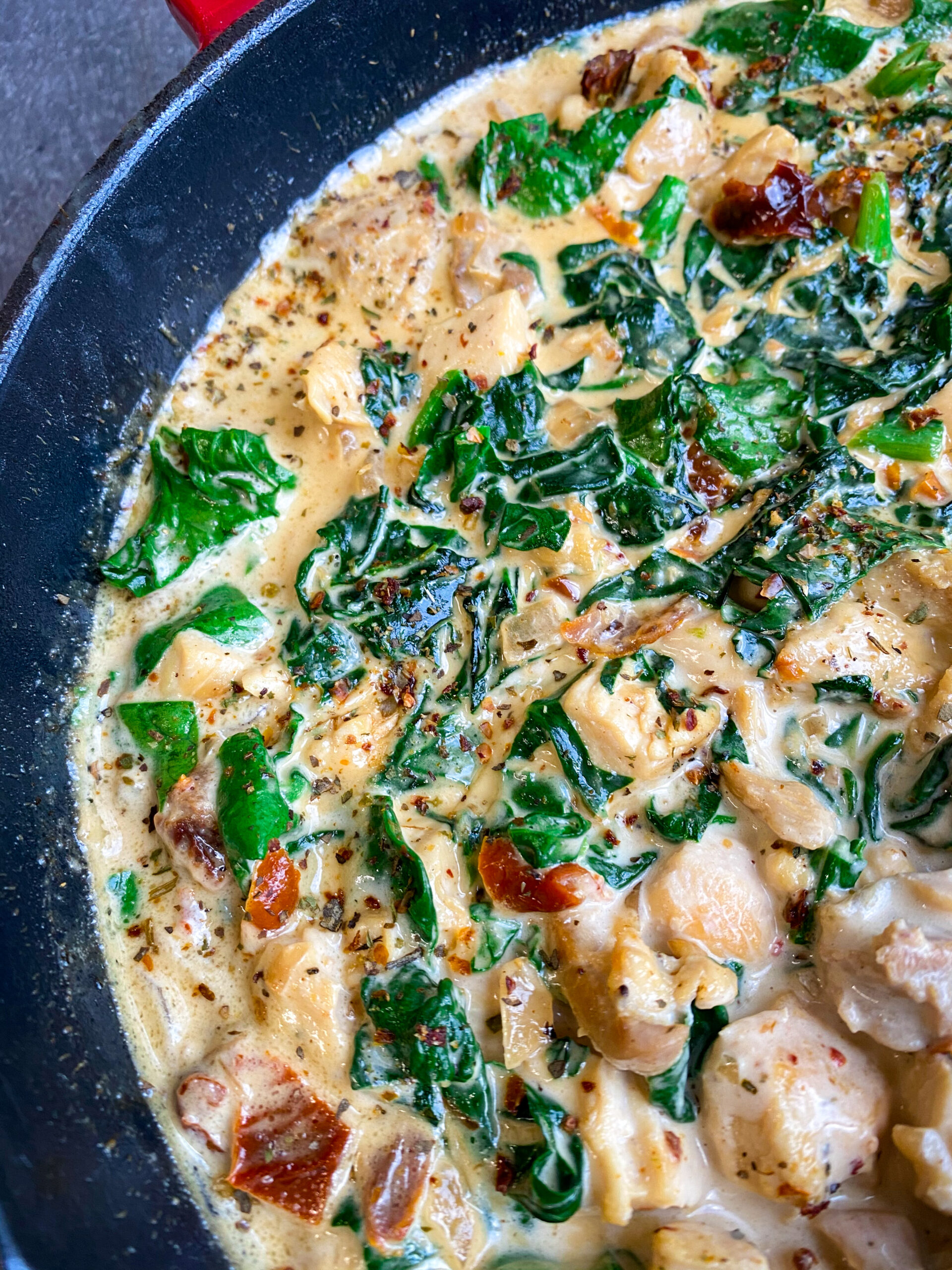 Picture of creamy garlic butter Tuscan chicken one skillet dish