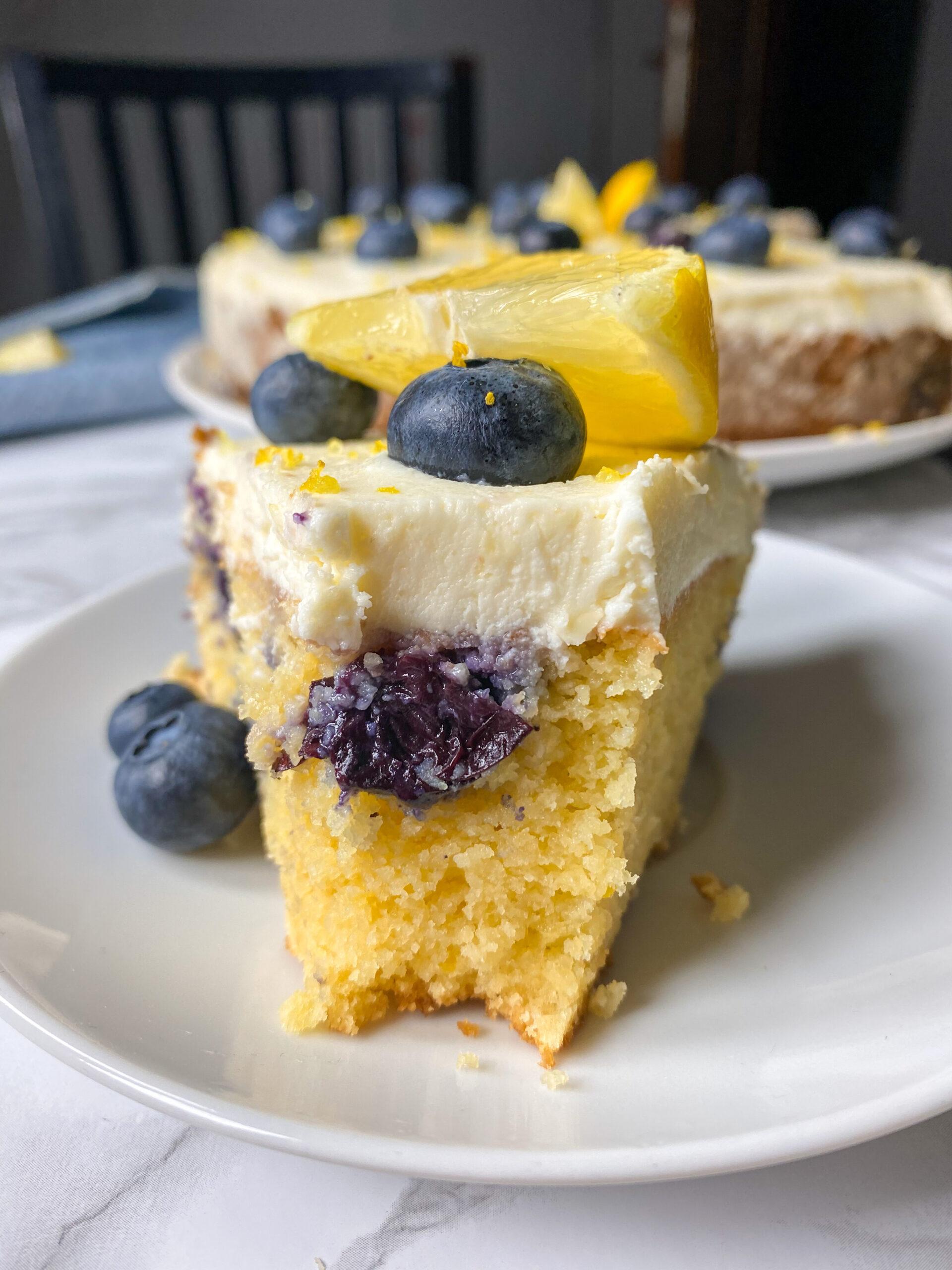 Picture of keto lemon blueberry cake