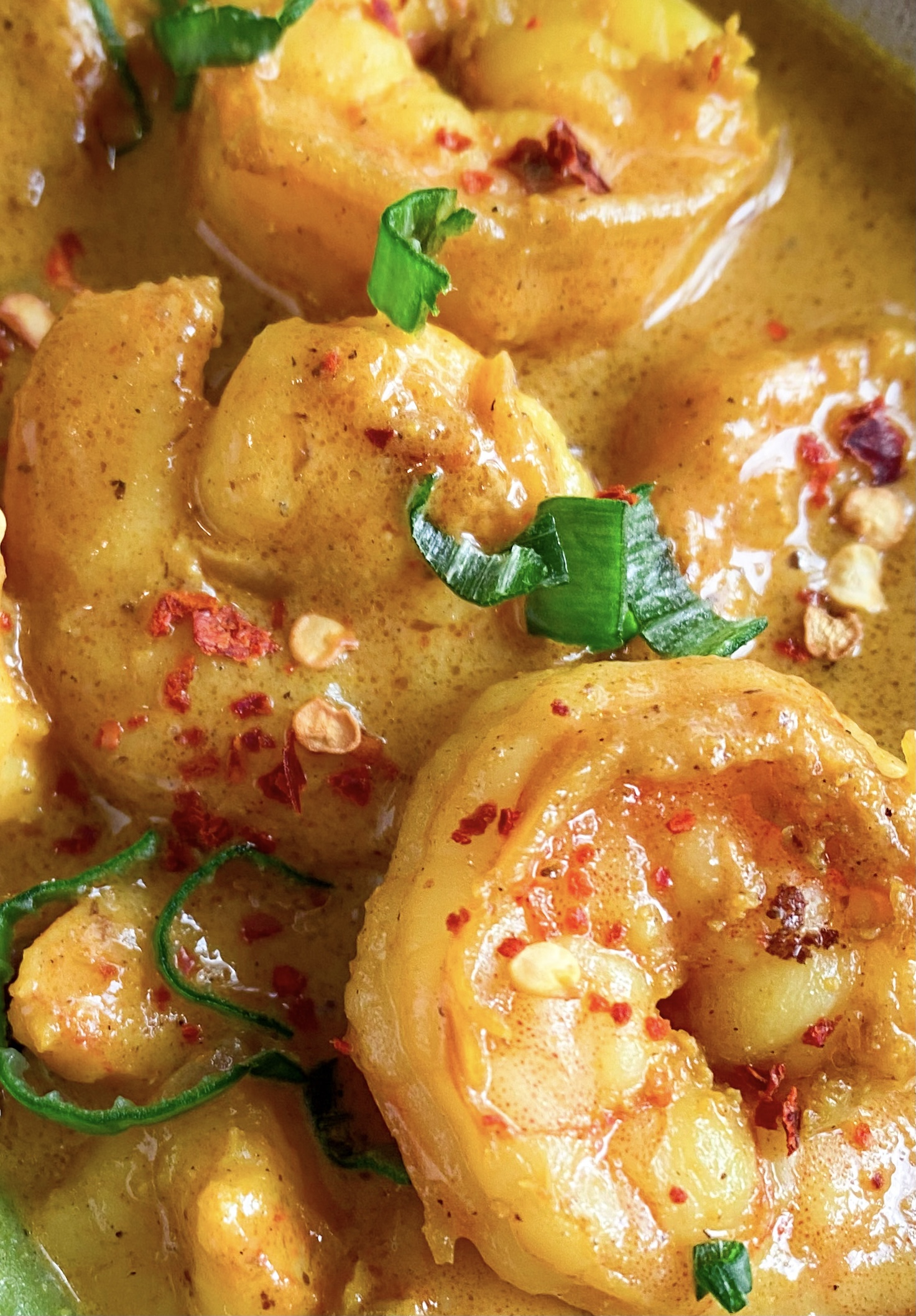 Picture of a bowl of spicy low carb coconut prawn curry