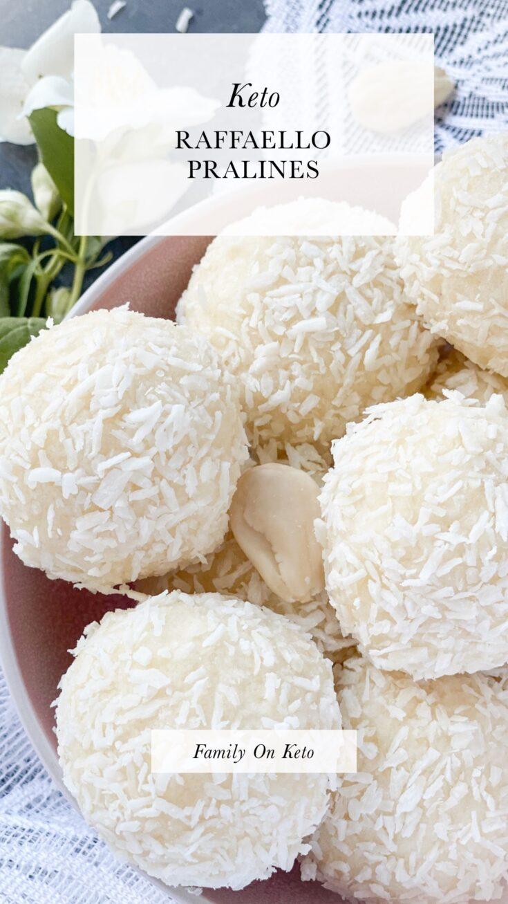 Bowl of keto Raffaello pralines