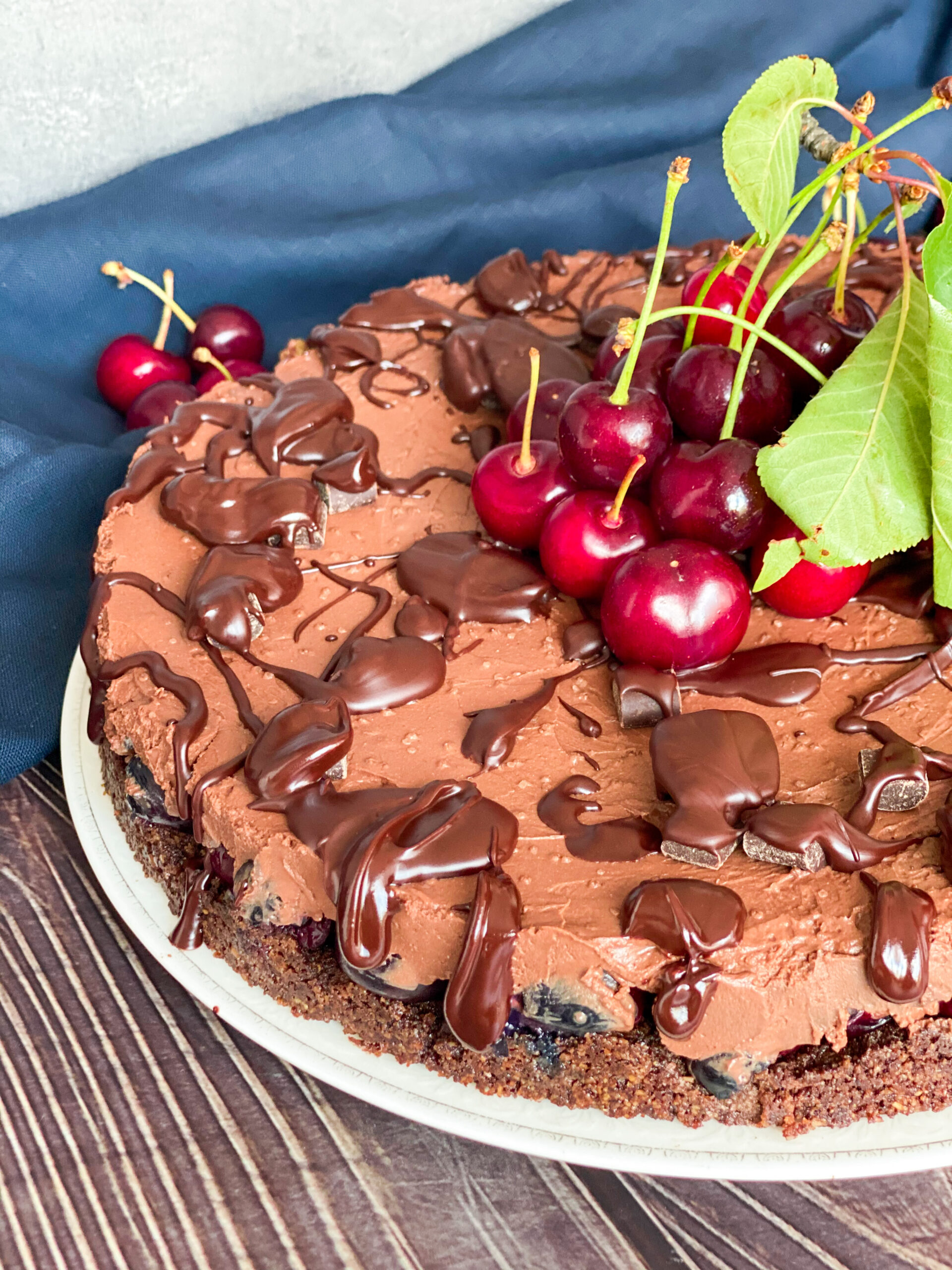 Picture of low carb dark chocolate cherry cheesecake