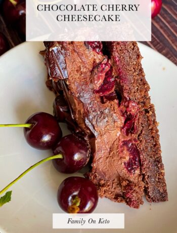 Picture of a slice of keto chocolate cherry cheesecake