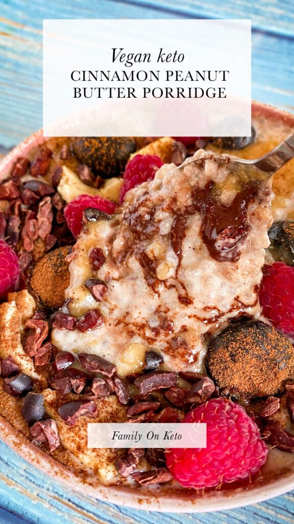 Picture of vegan keto cinnamon peanut butter porridge