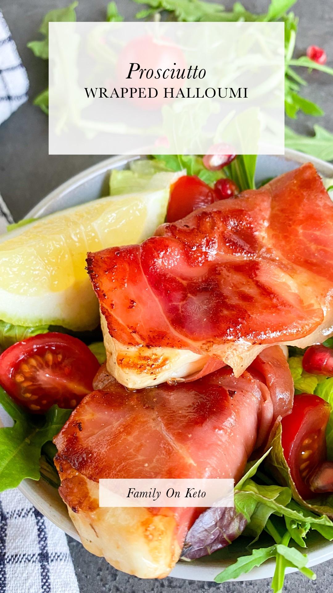 Picture of keto prosciutto wrapped halloumi